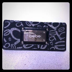BeBe Logo Wallet - Black and Silver - NWT